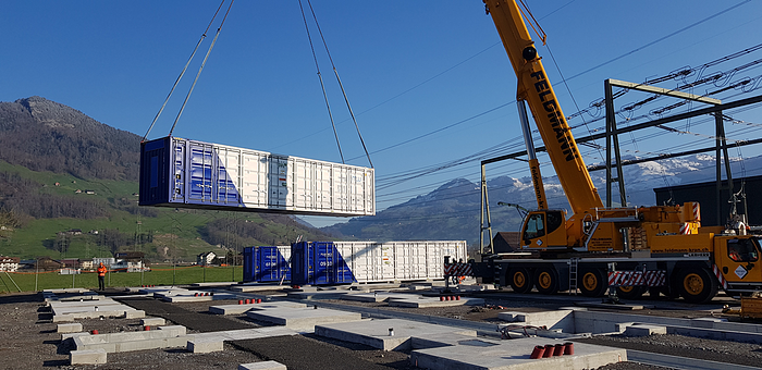 Crane operations at energy storage project site in Europe during COVID-19